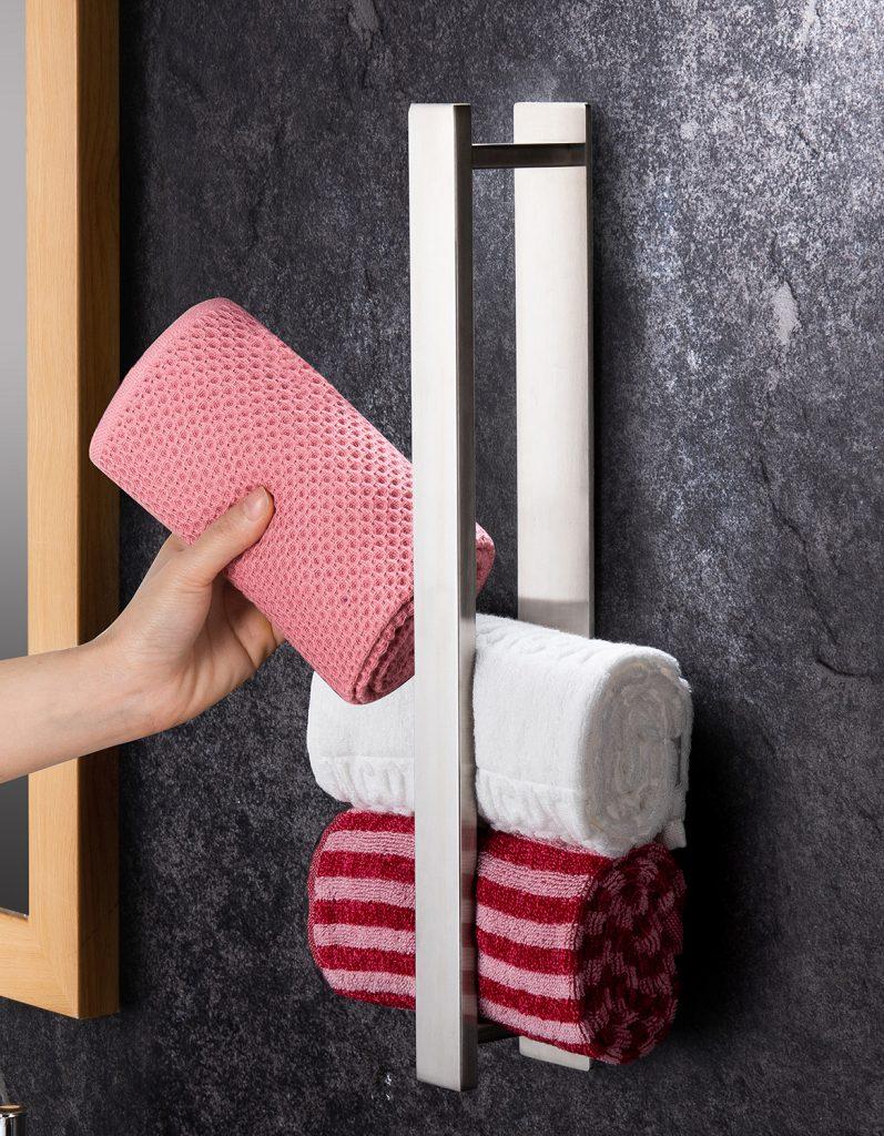 vertically installed towel storage towel rail