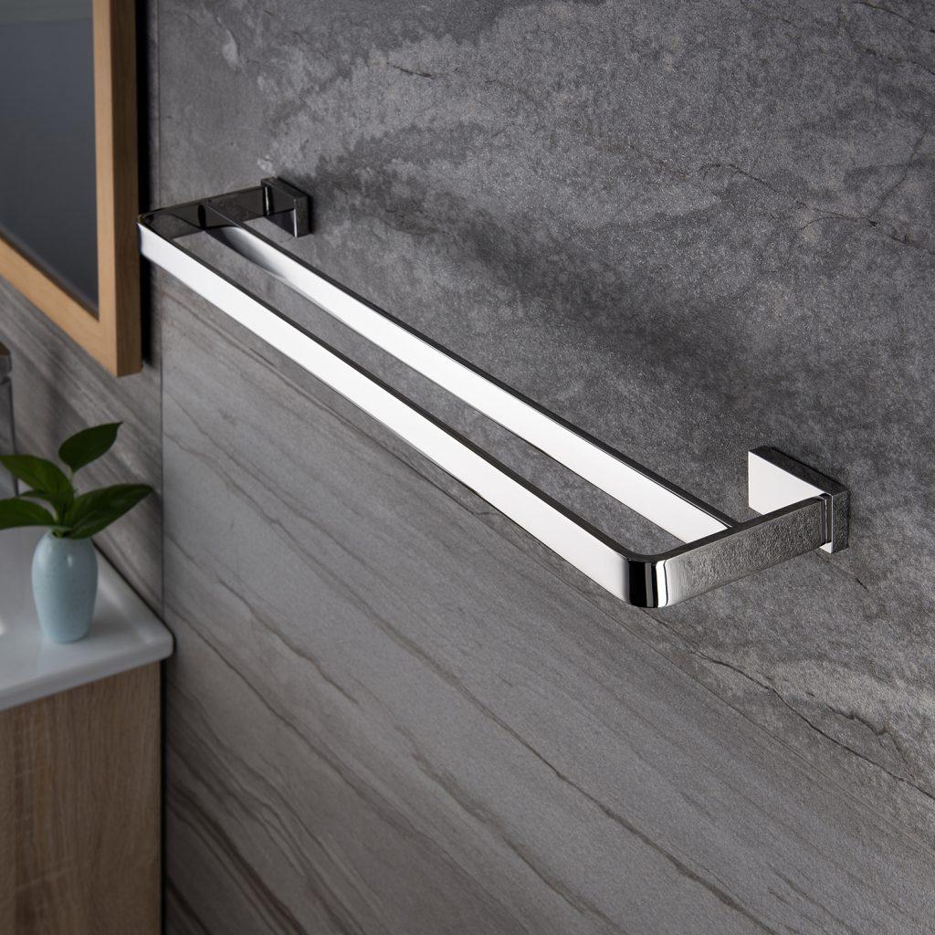 chrome double towel bar