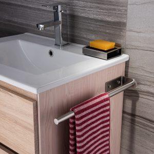 towel bar next to sink