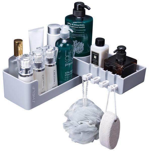 white corner shower shelf