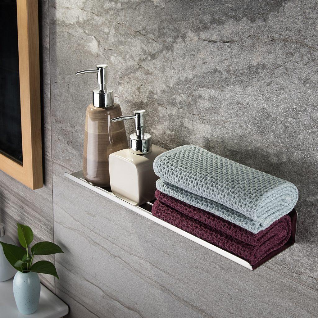 brushed steel shampoo holder