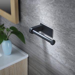 black toilet roll holder