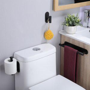 black bathroom decor set