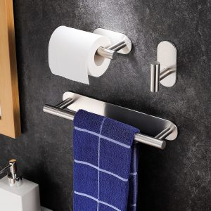 Brushed nickel bathroom accessory sets